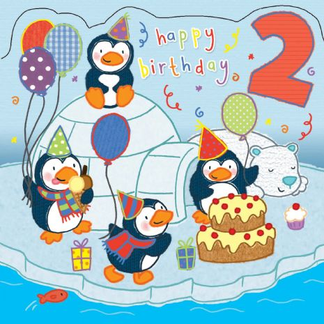 Age 2 Sparkly Penguins Birthday Card for Children TW421